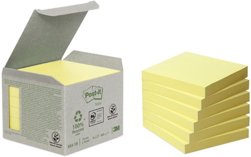 MEMOBLOK 3M POST-IT 654 76X76MM RECYCLE GEEL 6 Stuk