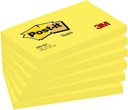 MEMOBLOK 3M POST-IT 655 76X127MM NEON GEEL 100 Vel