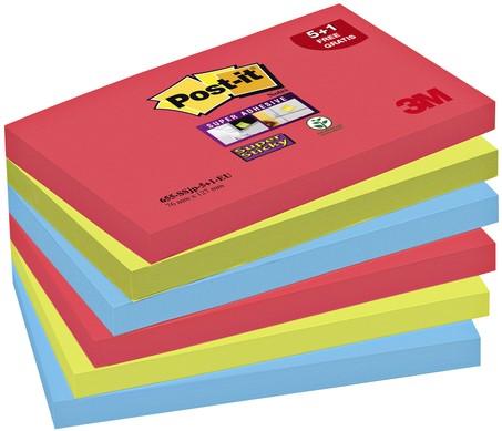 MEMOBLOK 3M POST-IT 655-SSEG 76X127MM SS OR/RZ/BL 6 Stuk