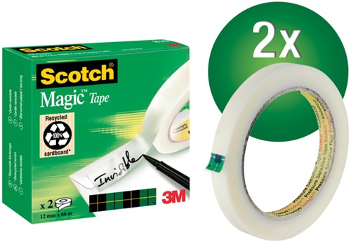 PLAKBAND 3M SCOTCH 810 12MMX66M MAGIC ONZICHTBAAR 2 Rol