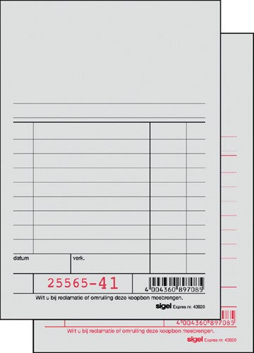 KASSABLOK SIGEL EXPRES SI-40920 150X100MM 2X50V 1 Stuk
