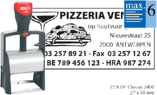 TEKSTSTEMPEL COLOP 2400 CLASSIC BON 6R 58X27MM 1 Stuk