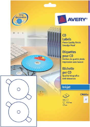 ETIKET AVERY CD C9660-8 HOOGGLANS 16ST 8 VEL-1