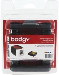 Pakket van 1 x kleurenlint en 100 blanco kaarten van 0,76 mm voor Badgy100 of Badgy200 1 STUK