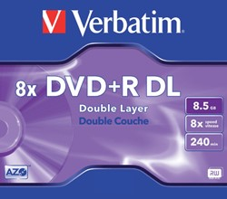 DVD+R VERBATIM 8.5GB 8X DOUBLE LAYER 5PK JC 1 STUK