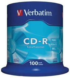 CD-R VERBATIM 700MB 52X 100PK SPINDEL 100 STUK