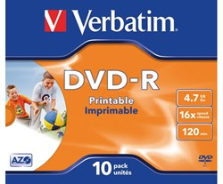 DVD-R VERBATIM 4.7GB 16X PRINTABLE 10PK JC 1 STUK