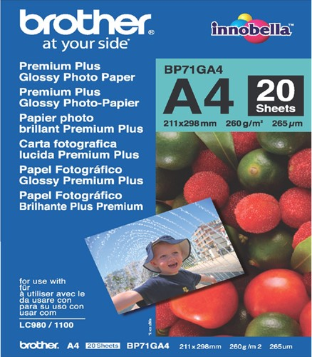 FOTOPAPIER BROTHER BP-71 A4 260GR GLANS 20 Vel