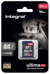 GEHEUGENKAART INTEGRAL SDXC 64GB ULTIMAPRO CL10 1 STUK