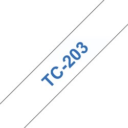 LABELTAPE BROTHER TC-203 12MMX8M WIT/BLAUW 1 STUK