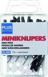 MINIKNIJPER HOUT PLUS OFFICE 34MM ASSORTI 15 STUK