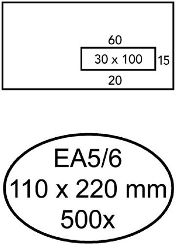 ENVELOP HERMES VENSTER EA5/6 VR 3X10 80GR ZK 500ST 500 Stuk