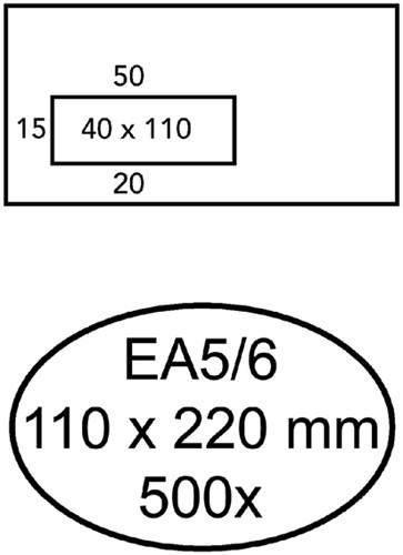 ENVELOP HERMES EA5/6 VL V23 4X11 80GR ZK WIT 500 Stuk